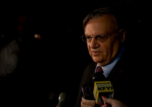 Joe Arpaio talks to the media