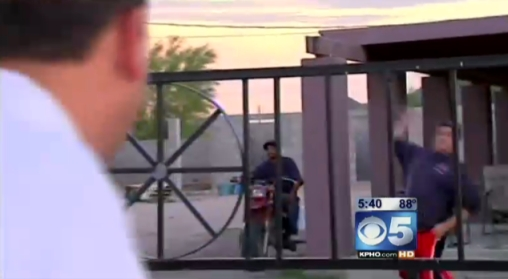 CBS 5 (KPHO) News Crew gets rocks thrown at it